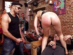 Young babe takes two cocks at cocktail hour