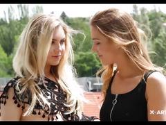 Two skinny teen lesbians.