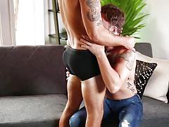 Hot gay guy sucking off his lover's dick