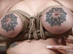 bdsm, big tits, babe, face fuck, brunette, deep throat, tattooed, tits torture, rope bondage, sexually broken, sergeant miles, scarlet de sade