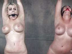 threesome, bdsm, babe, busty, mouth gagged, device bondage, rope bondage, electric vibrator, plastic bag suffocation, sybian saddle, hard tied, nyssa nevers, nadia white