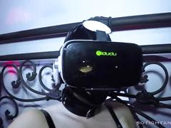Brainwashed virtual reality latex fuck doll