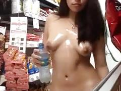 Swuirting in a super market and oiling my self up (must watch)