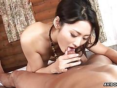 Sweet asian babe passionately sucks and rides a hairy boner