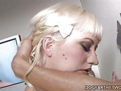 Cherry torn takes a white and a black cock - gloryhole
