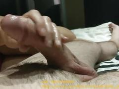 Sensual handjob by milf with huge load on tit's