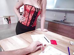 Jessie wylde sucks my cock right behind her boyfriend's back