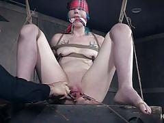 bdsm, babe, domination, vibrator, tied up, gagged, pussy torture, blue hair, nipple clamps, rope bondage, pussy clamps, hard tied, lux lives