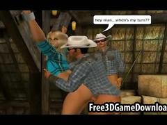 Horny 3d cartoon cowgirl takes on two studs at the barn