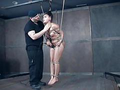 bdsm, spanking, babe, slave, master, busty, vibrator, tied up, choking, rope bondage, hard tied, gabriella paltrova