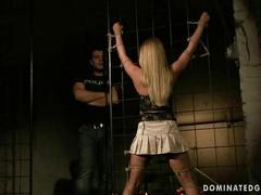 Sexy blonde being punished