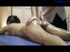 Milf massaged with oil getting her tits rubbed hairy...
