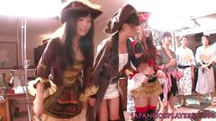 Cosplay japanese pirate lady squirts