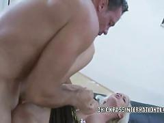 Busty babe cindy dollar gets her ass fucked hard.