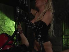 Blonde dominatrix uses sex slave stud for her fucking pleasure