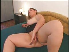 Horny fat bbw ex gf with big ass plays with wet shaven pussy