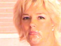 Blonde has fun with big toys and orgasm with mouthful of cum