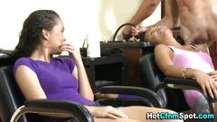 Cfnm femdom babes blow a dude real hard