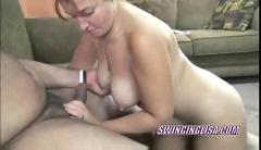 Redhead liisa on her knees and blowing a stranger