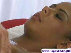 Busty ebony massage babe fingered by her masseur