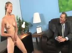 White chick takes a monster cock in front of dad