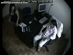 Office fuck filmed by security cam