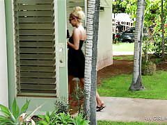 Blonde babe enjoys a nice massage at a resort