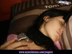 Sleeping girl gets woken up to lustful pleasure