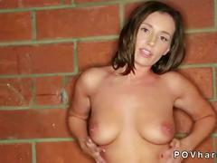 Hot ass tanned brunette sucking and fucking in pov