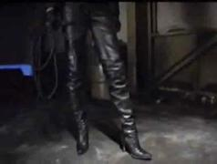 jacket, full, pants, femdom, fetish, mistress, long, asian, ball, trampling, boots, and, leather, kicking