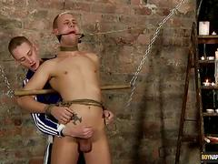 Ashton drains his slave's hard cock