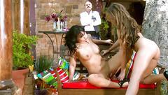 lesbian, toys, lana lopez, ella milano, dildo, xxx, fuck, brunette, licking, hd porn
