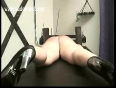 Milf slave tied to a table got spanked on her ass and her tight pussy finger fucked bdsm