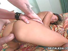 Sexy asian babe gets her sweet ass fucked hard.